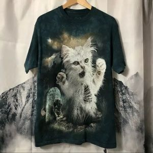 THE MOUNTAIN Winston the Zombie Cat T-Shirt Sz M